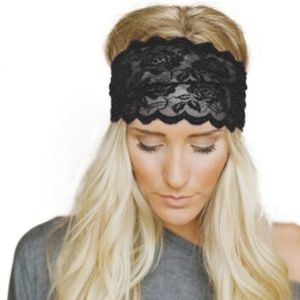 Accessories - FREE WITH PURCHASE NWT Black Soft Lace Headband